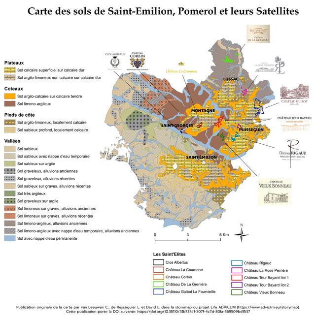 Cartes des sols de Saint-Emilion, Pomerol et leurs Satellites